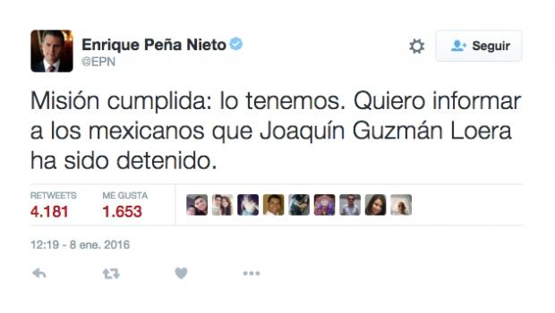 """""""Lo Tenemos"""": Informa EPN La Detención De 'El Chapo'"""